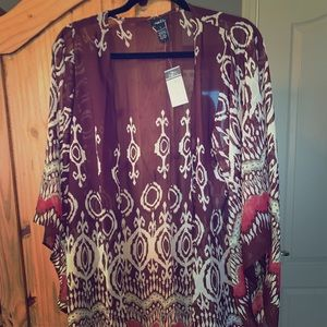 Rue21 abstract print sheer chiffon cardigan NWT